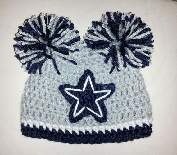 Crocheted Dallas Cowboys Hat Cap Beanie Baby Boy Girl Pom Poms Or