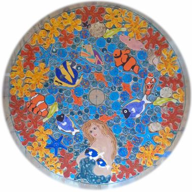 swimming pool tropical mosaic tile table