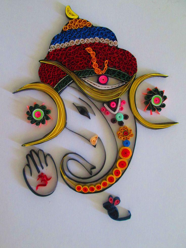 140 best ganpati images on pinterest for Big quilling designs