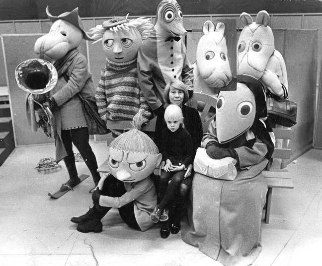 Tove Jansson with characters from Mumindalen, 1973