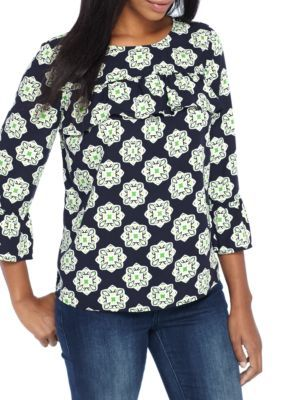 Crown & Ivy™ Women's Floral Print Ruffle Trim Shirt - White/Navy - Xl