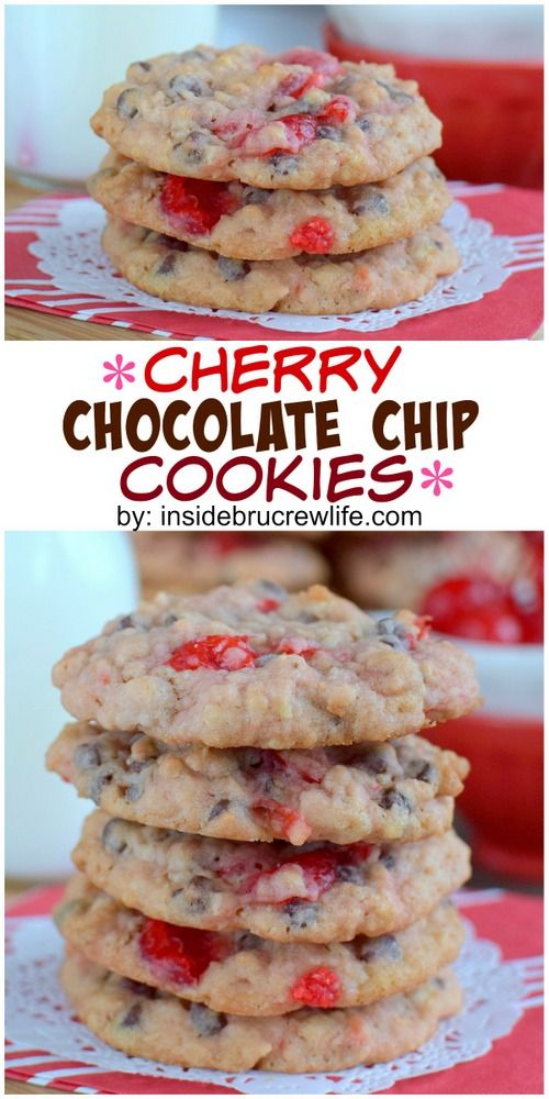 Oatmeal chocolate chip cookies get a fun twist when cherry pieces are ...