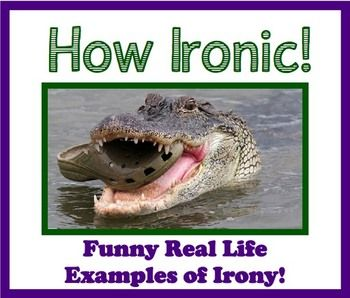 Irony In Everyday Life Presentation: The presentation is in SMART notebook and PDF format and includes 18 pictures that are truly ironic. I usually have my students raise their hands and tell me why it is ironic (based on the definition in the presentation) - or have them write down their reasons for one or two to make sure they get the concept!