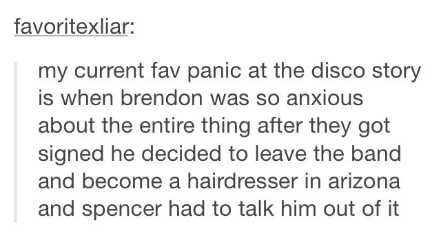 This story is literally everything. I don't think I would trust Brendon to cut my hair. Half the time I don't even trust my hairdresser to cut my hair. I don't even live in Arizona.