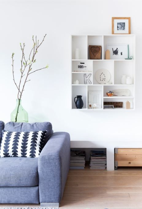 gray sofa, living room inspiration, open cupboard | collection display idea