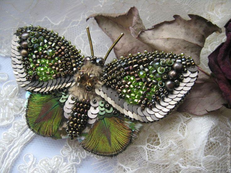 """Купить брошь бабочка""""ББ13-005"""" - брошь-бабочка, вышитые украшения, вышивка, Вышивка бисером, бабочка"""