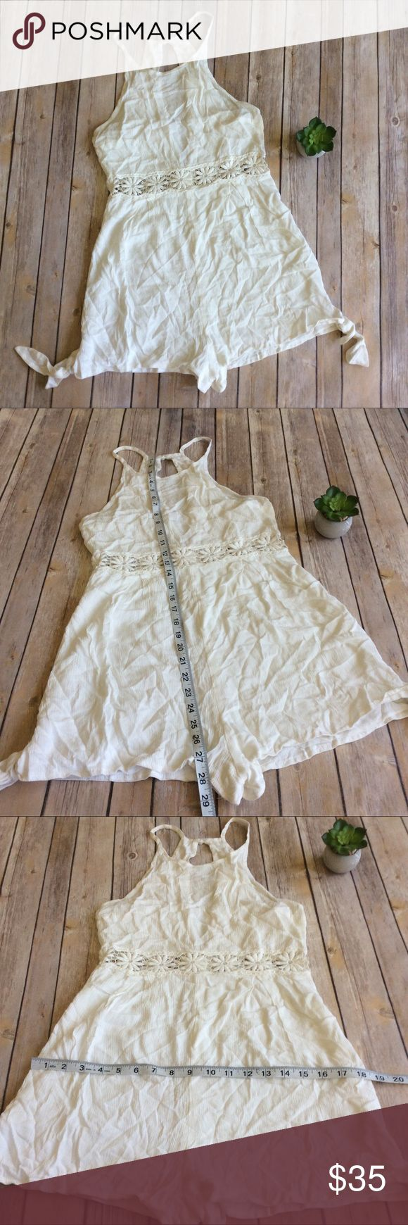 LF Dream State Romper size Medium Like new ivory with crochet detail and deep v back. So cute for Festival and concert season!  ❌no trades, holds, or lowball offers. ✅Clean and smoke free home, quick shipping, bundle discount, always! 🎁Free gift with $15+ bundle. LF Pants Jumpsuits & Rompers