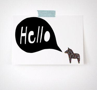 Hello Dala postcard - sette