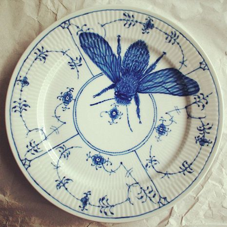 Blue and white plate with honey bee -- Royal Copenhagen
