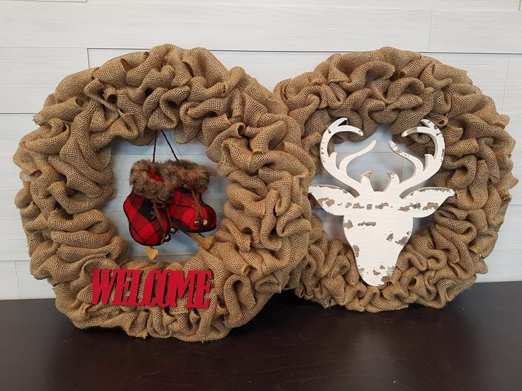 Burlap Holiday Wreaths. . . #goldenforrest #goldenforrestcreations #burlapwreath #burlap #wreath #wreathideas #deer #skates #plaid #welcome #doordecor #holidaydecor #seasonaldecor #christmasdecor