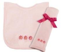 Princess Linens Cotton Knit Bib and Burp Pad Set with Daisy Motif, Pink