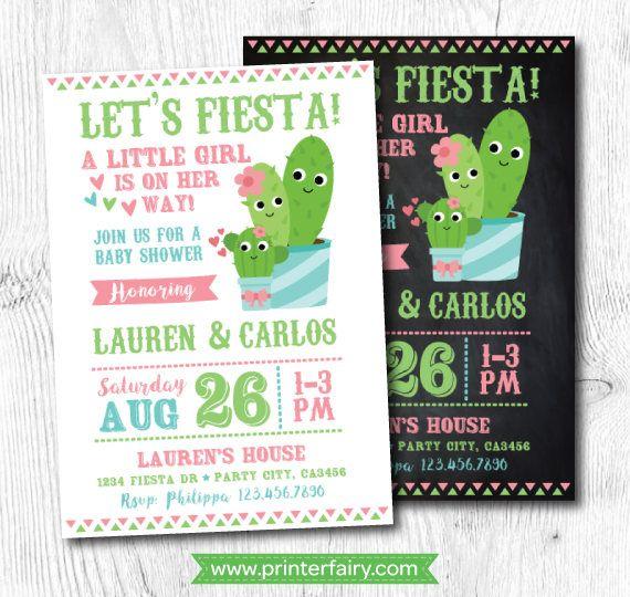 Cactus Invitation, Cactus Baby Shower Invitation, Fiesta Baby Shower, Mexican  Baby Shower Invitation, Digital, 2 Options