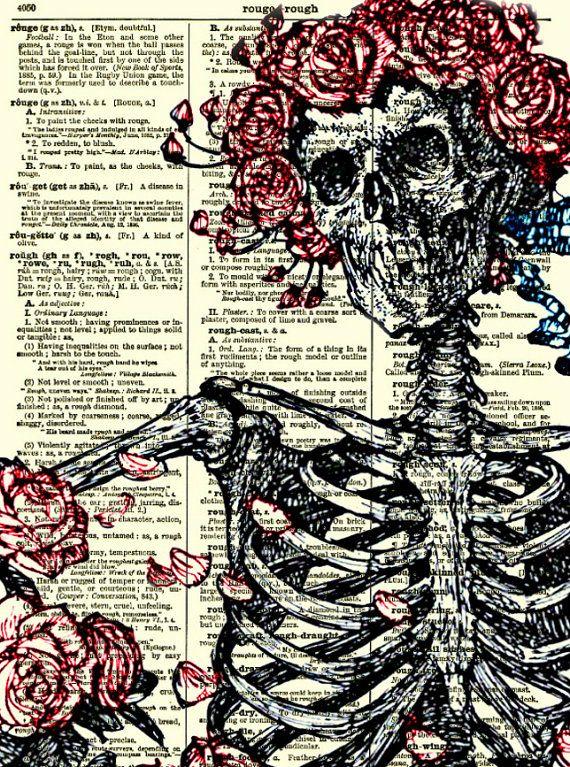 Skeleton and Roses on 1897 Dictionary Page, Dictionary Art Print, Wall Decor, Halloween Decor, Book Art The Rubaiyat of Omar Khayyam Collage...