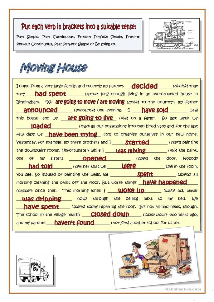 Moving House Mixed Tenses Worksheet Free Esl Printable Worksheets Made By Teachers Essay Examples Moving House Teaching Jobs