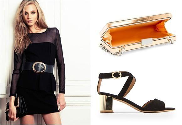 Vestido negro + dorado