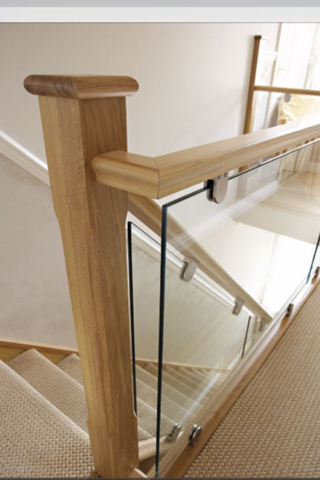Glass & oak staircase More