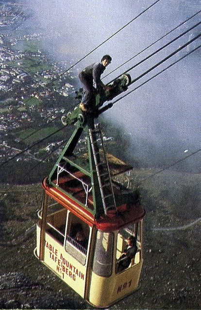 The old cable car to Table Mountain. Cape Town, South Africa