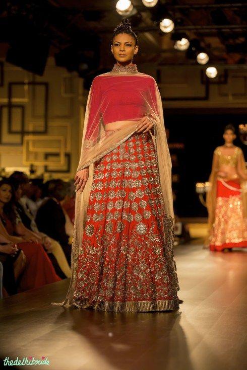 Red and matte gold lehenga by Manish Malhotra India Couture Week 2014 #ICW2014 See the rest of the collection at http://thedelhibride.com/2014/08/06/manish-malhotra-india-couture-week-2014/
