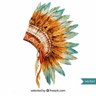 Pintados à mão cocar indígena