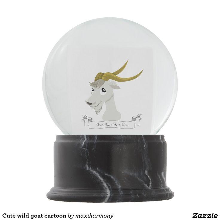 Cute wild goat cartoon snow globes