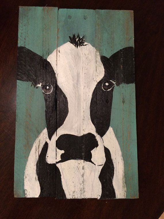 Cow art on reclaimed wood shabby chic cow art by HippieHoundUSA