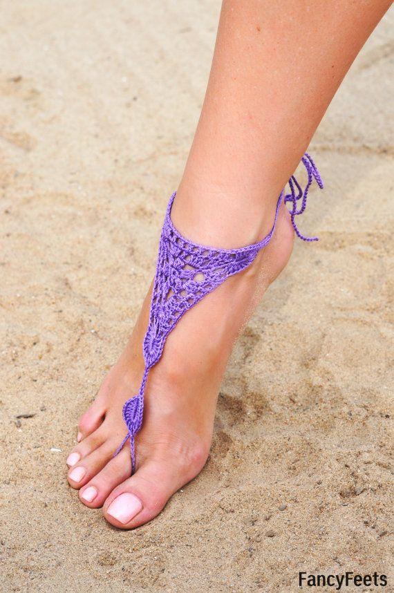 Crochet violet lilas Barefoot sandales Chaussures nue, bijoux de pied, demoiselle d'honneur, pieds nus, plage accessoires, mariage accessoire