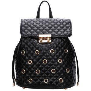 SheIn(sheinside) Black Eyelet Diamondback PU Backpack