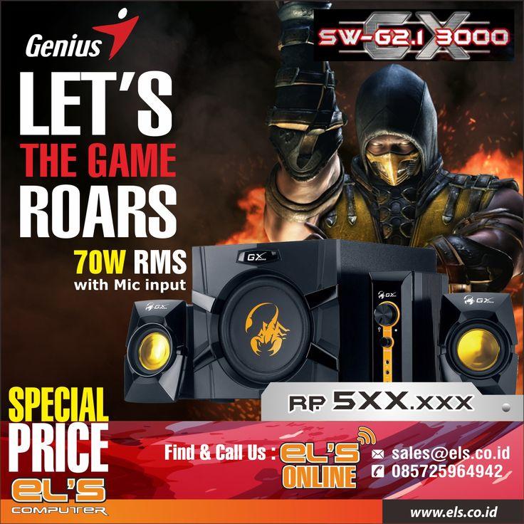 Rasakan sensasi bermain game dengan kualitas sound yang mumpuni dengan Speaker Genius Gaming GX SW-2.1 Untuk informasi produk lebih detail bisa dicek melalui link berikut : http://www.els.co.id/shop/speaker-genius-gaming-gx-sw-2-1-w-mic-input-rms-70w