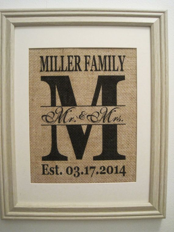 Burlap Monogram PrintBurlap Art Wedding Gift Initial Save The