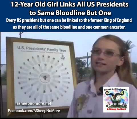 IF YOU HAVE NEVER QUESTIONED YOUR GOVERNMENT, YOU MIGHT WANT TO THINK ABOUTIT NOW AS ALL BUTONEU.S. PRESIDENT ARE CONNECTED TO THE SAME BLOODLINE. Using both male and female ancestry a 12 year old...