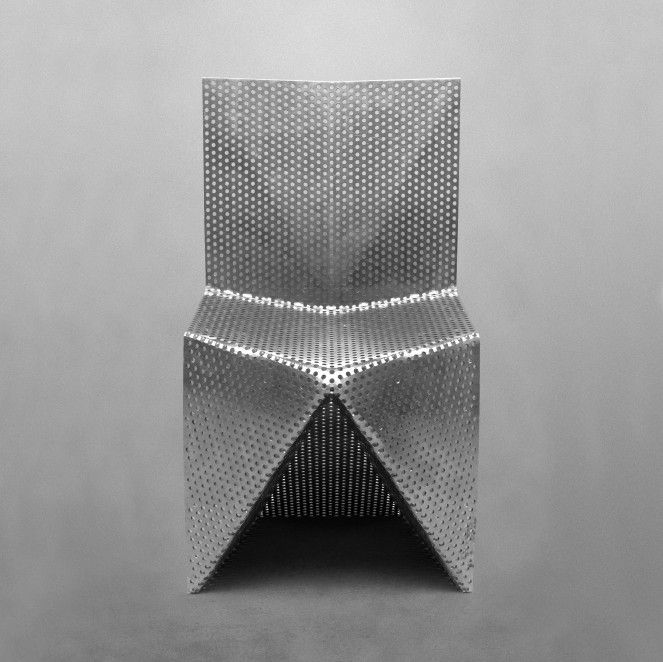 This Aluminum Chair By Tobias Labarque Is A Cantilever Type Chair Made From  A Single Piece Of Perforated Aluminium Plate. There Are No Joints, No  Connectio
