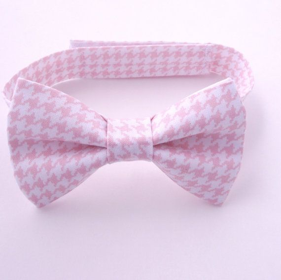 Boys Blush Bow Tie, Houndstooth Bow Tie, Light Pink Bow Tie, Toddler Bow Tie, Baby, Kids , Infant, Pattern, Print, Page Boy, Ring Bearer