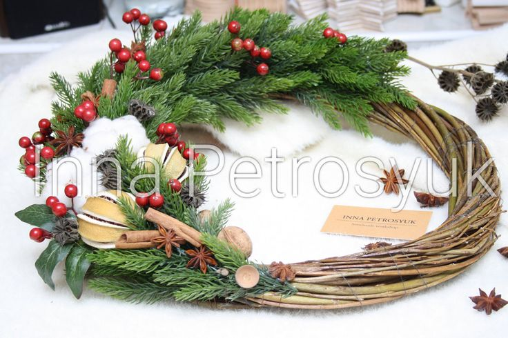 Handmade rustic willow Christmas Wreath for front door. Christmas Gift. Xmas decor. Christmas wreath. Christmas decoration for front door by WorkshopByInnaSt on Etsy