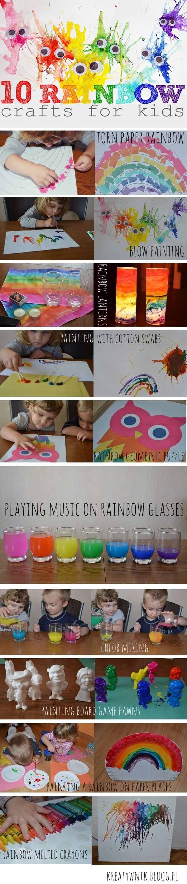 There are so many things we can do to create a rainbow. Here are some our samples: torn paper rainbow, rainbow blow painting, rainbow lanterns, painting rainbow with cotton swabs, rainbow geometric puzzle, playing music on rainbow glasses, color mixing, painting board game pawns, painting a rainbow on a paper plates, rainbow melted crayons...