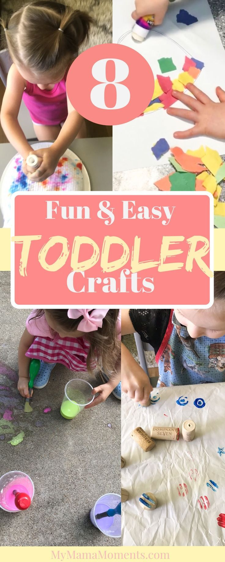 Toddler Crafts! Fun for your toddler & easy for both mom and tot! Wondering what crafts your toddler can do? Well, here are 8 of our favorite, Mama ap…
