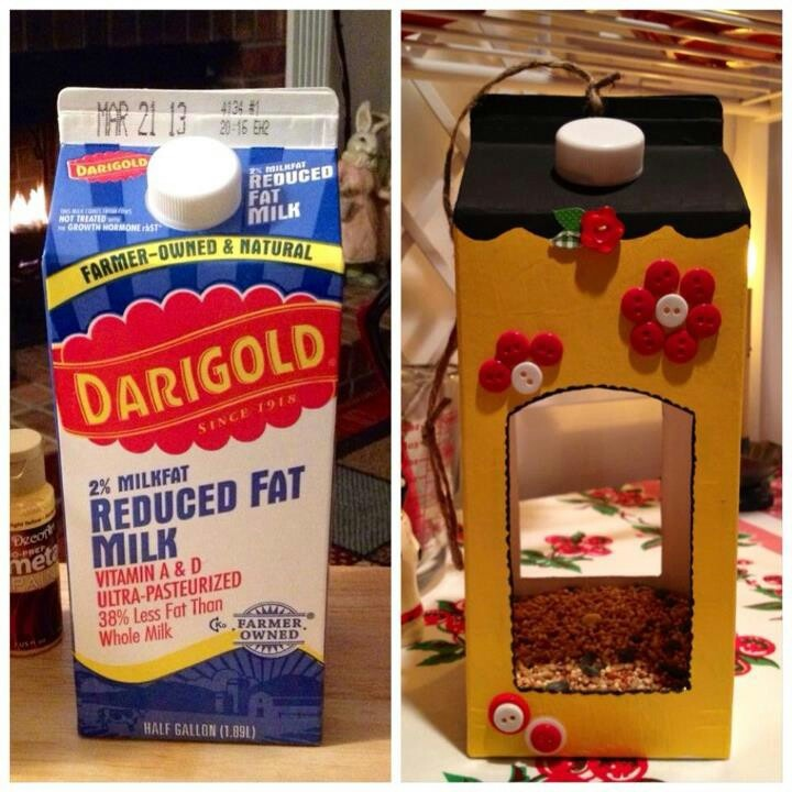 Bird house out of milk carton - fun craft for kids!