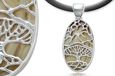 Silver Pendant with Garnet and Sea Shell, Banyan Tree motif.