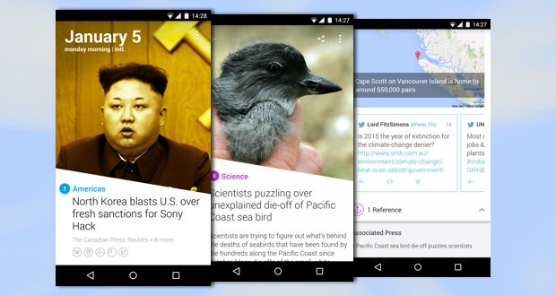 Pretty app that shows you only the most important world news of the day. #android #iphone #design