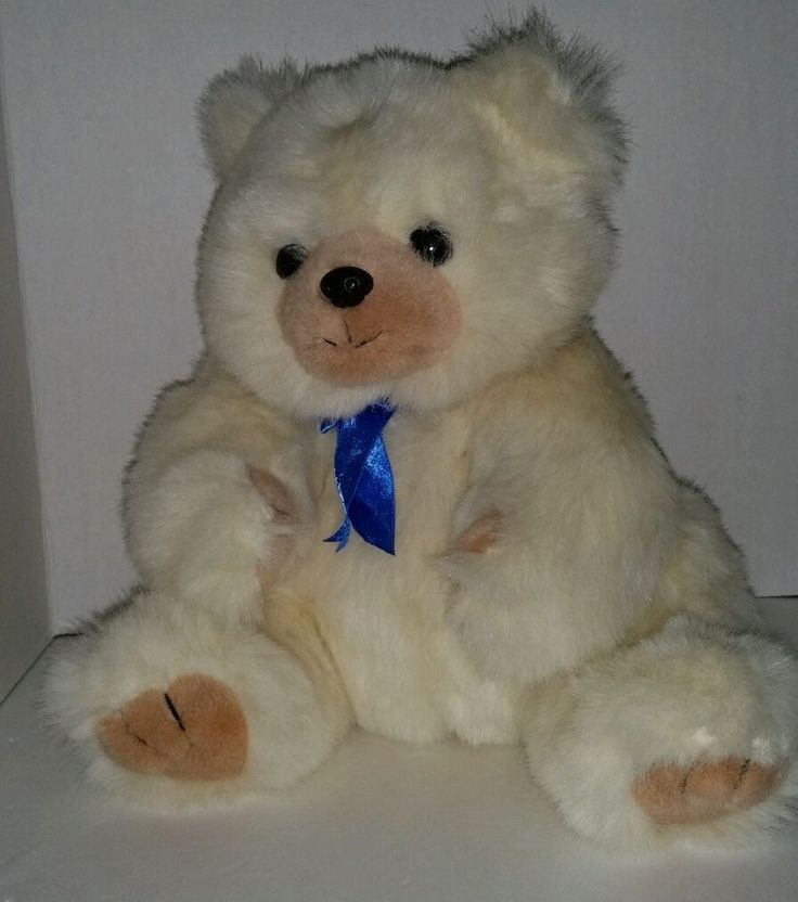 "TY Teddy Bear Plush Toy 1990 12"" Vintage White Blue Bow #TY............................................................Please save this pin... ........................................................... Visit!.. http://www.ebay.com/usr/prestige_online"
