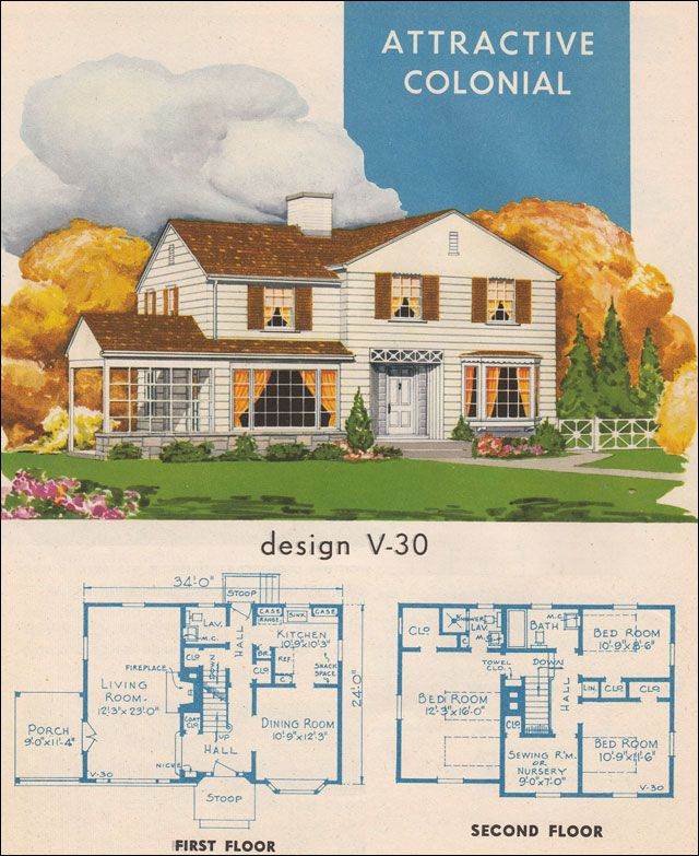Billed as a Colonial, it's a modern interpretation of a plan that Americans apparently couldn't get enough of. The main floor plan shows little innovation from pre-war designs. Upstairs, there are two bedrooms, a sewing room, and master suite. In total, this plan has two bathrooms and a powder room ... quite a grand plan for a mid-40s plan book.