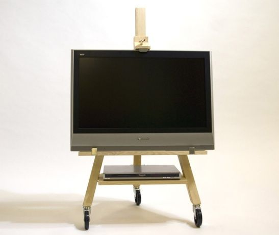 The best flat-screen TV solution we've seen yet: the TV Easel by Swedish designer Axel Bjurstrom, mounted on wheels for easy mobility.