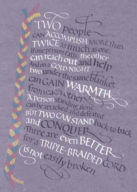 Ecclesiastes 4 9 12 threefold cord calligraphy by my friend at
