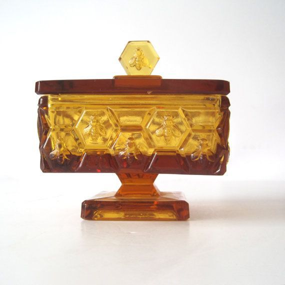 Fenton Amber Honey Box | Fenton Art Glass Vanity Items ...