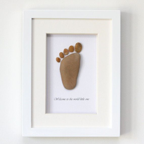Pebble Art / Stone Art Framed Picture - Baby Foot - new baby gift europeanstreetteam on Etsy, $48.00