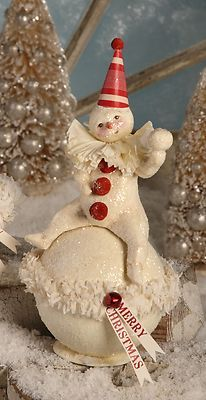Bethany Lowe Christmas Seated Juggling Snowball Snowman Conatinier DF0089 | eBay