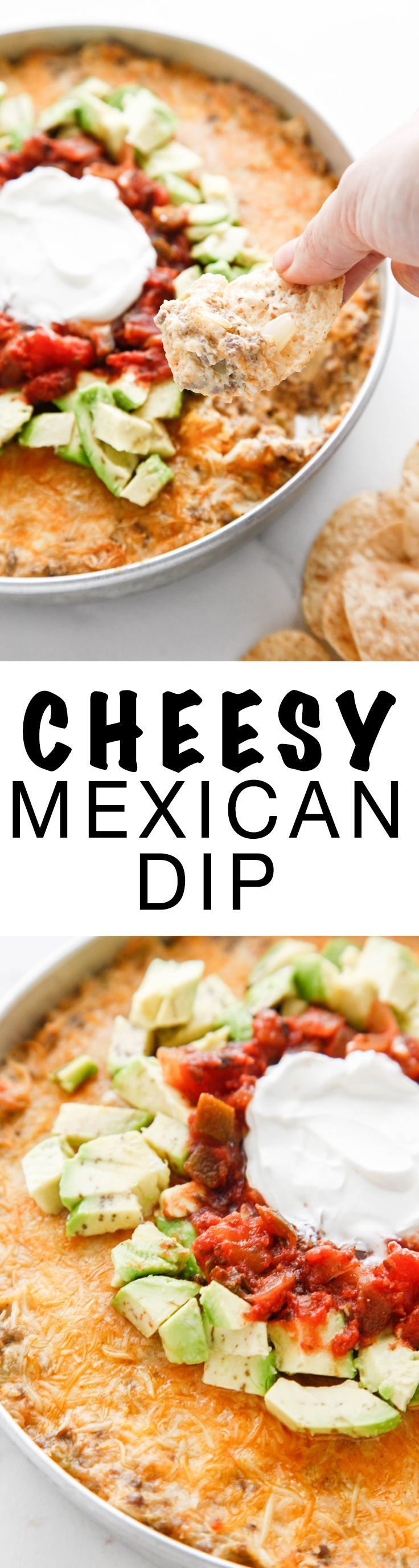 Easy, cheesy and perfect for sharing! This recipe for Cheesy Mexican Dip is a crowd pleaser! Via @thebrooklyncook