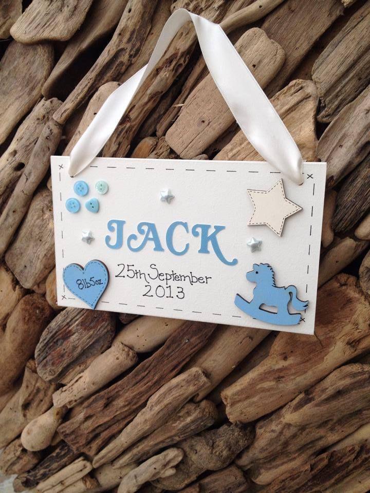 Personalised Baby Boy Newborn Plaque Christening Gift Name Weight Handmade