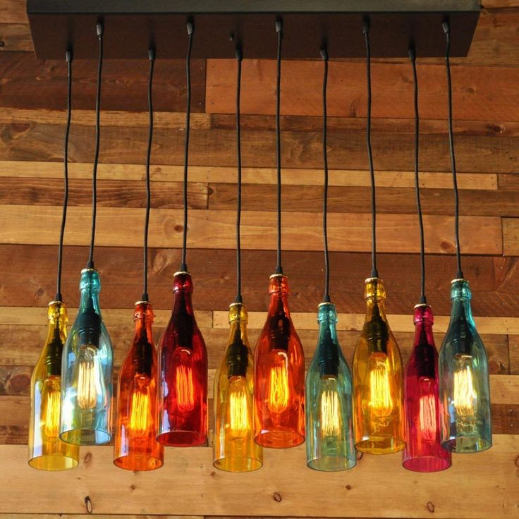 Industial Glass Bottle Pendant Lighting For Bar New Creative Colorful MS202 #Parrotuncle #Country