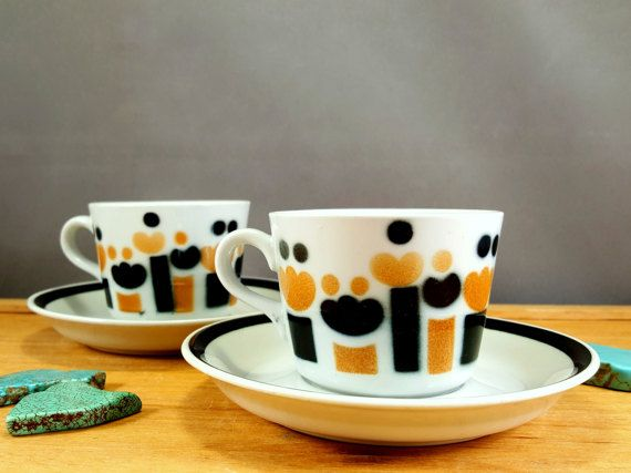 4 items from Arabia Finland cups and saucers