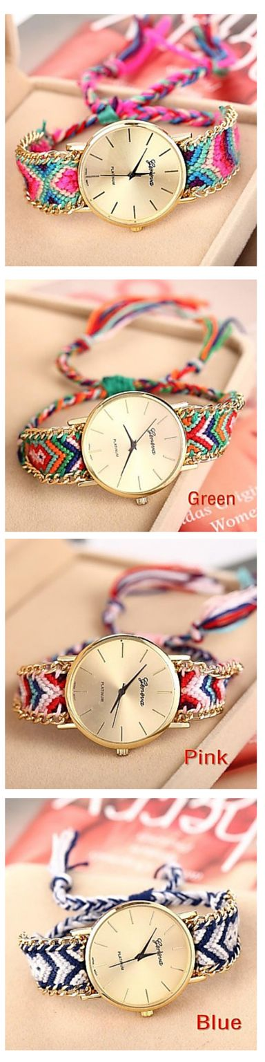 We love this geomtric aztec print watch band! Colorful and comfortable, this watch will go with everything! Get it!